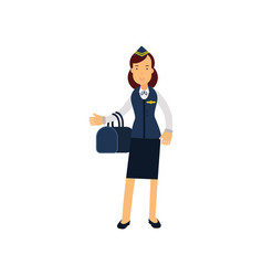 stewardess in blue uniform standing with bag vector image