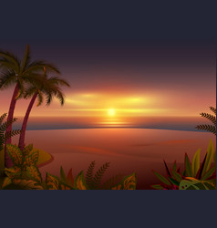 Sunset on tropical island palm trees sea and vector