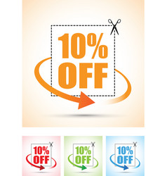ten percent arrow set vector image vector image