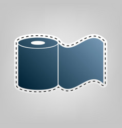 toilet paper sign blue icon with outline vector image vector image