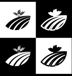 Wheat field sign black and white icons vector