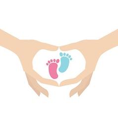 Hands holding kids footprint symbol vector