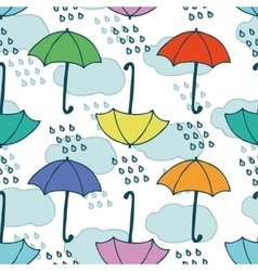 Seamless Pattern with Rain and Umbrellas vector image