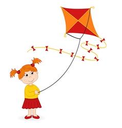 Girl launching kite vector