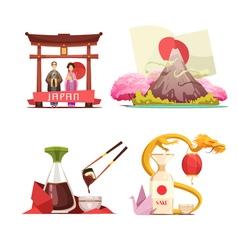 Japan Culture 4 retro Compositions Set vector image