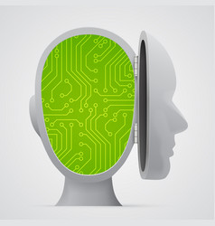 Circuit board inside head technology vector