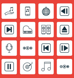 Set of 16 music icons includes extract device vector