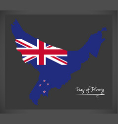 Bay of plenty new zealand map with national flag vector