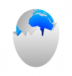 World in egg shell vector