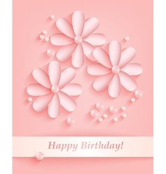 Pink background with paper flowers and pearls vector