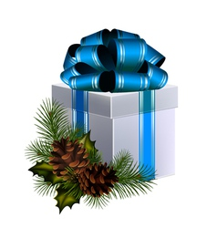 Christmas gift with big blue bow decorated with co vector