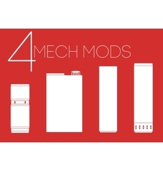 4 mechanical mods icons set vector