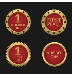Golden badge set vector image