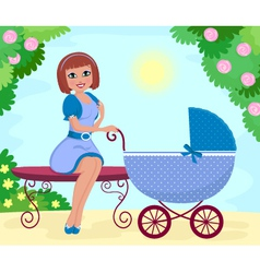 woman with stroller vector image