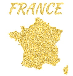 Map of france in golden with gold yellow particles vector