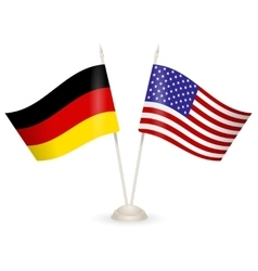 Table stand with flags of germany and usa vector