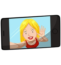 Woman smiling on cellphone screen vector