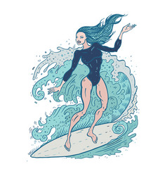 beautiful woman on surf board vector image vector image