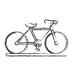 Blurred silhouette image cartoon sport bicycle vector