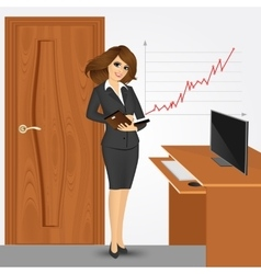 Business woman writing in planner in office vector