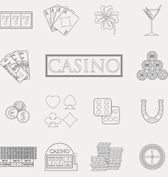 Casino and gambling line icons set with slot vector