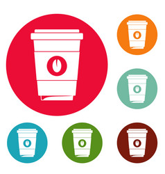 coffee plastic cup icons circle set vector image