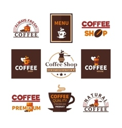 Coffee Shop Cafe Design Emblems Collection vector image vector image