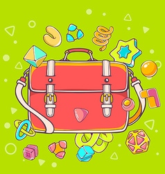 Colorful of red shoulder bag on green backgr vector