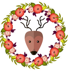 Deer and floral wreath separated vector