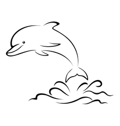 Dolphin and sea waves contour vector