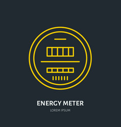 Energy meter flat line icon electrical repair vector
