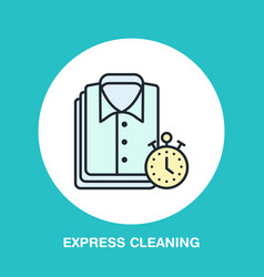 Express dry cleaning icon laundry line logo flat vector