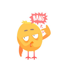 funny cartoon comic chicken with phrase bang vector image vector image
