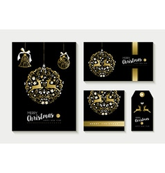 Gold christmas card and label design template set vector