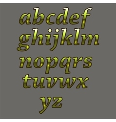Gold luxury alphabet yellow metal letters vector