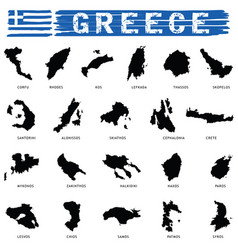 Greek island paradise set in black color vector