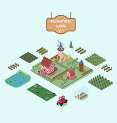isometric farm elements set vector image vector image