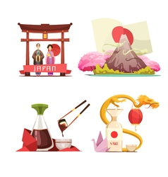 Japan culture 4 retro compositions set vector