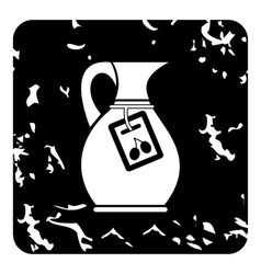 Jug with olive oil icon grunge style vector