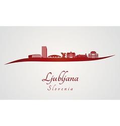 Ljubljana skyline in red vector