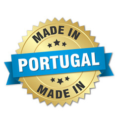 Made in portugal gold badge with blue ribbon vector