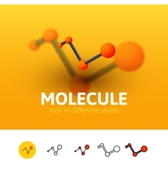 Molecule icon in different style vector image