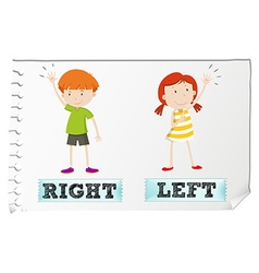 Opposite adjectives with left and right vector