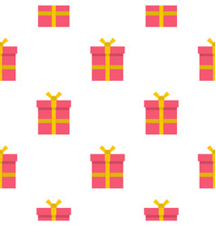 Pink gift box with pattern seamless vector