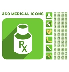 Receipt vial icon and medical longshadow icon set vector