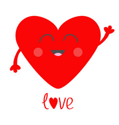 Red heart face head with hands cute cartoon vector