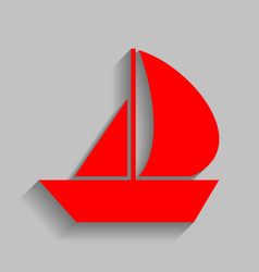 Sail boat sign red icon with soft shadow vector