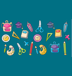 School elements clip art set in cartoon style vector