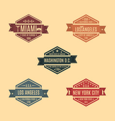 set hexagonal emblem with the name of us cities vector image vector image
