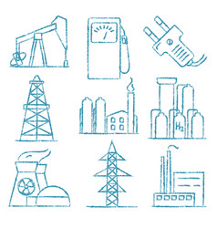set of energy and electricity hand drawn icons vector image